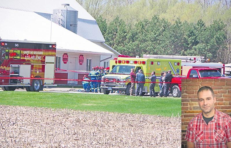 Plusieurs intervenants ont tout fait pour sauver la victime lundi en début d'après-midi, mais il était déjà trop tard. (photo : Dominique St-Pierre)