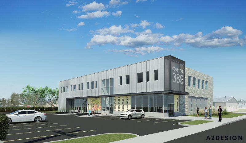 On voit ici la maquette de la façade du Complexe 389, un projet commercial qui pourrait voir le jour l'an prochain à Upton.