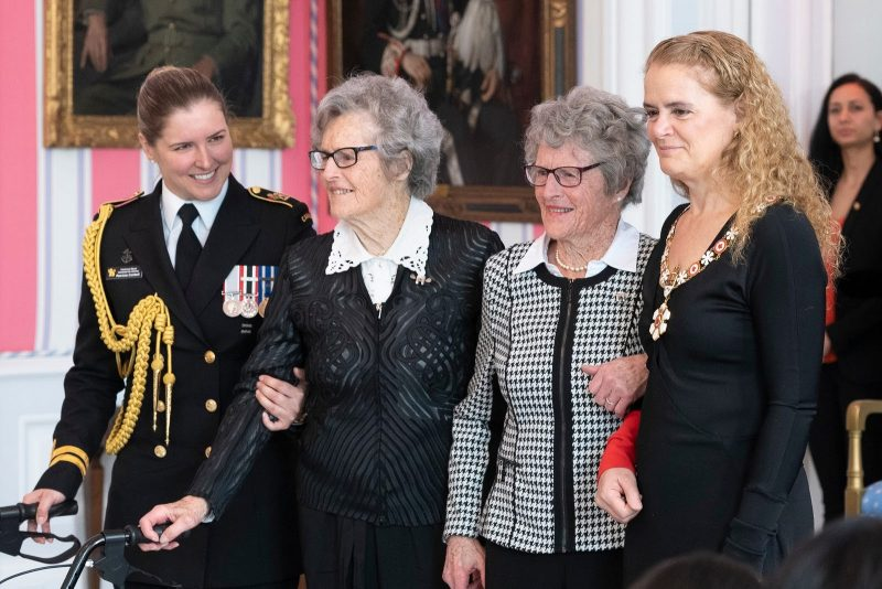 GG05-2019-0066-066 14/03/2019 Ottawa, Ontario, Canada  The Governor General presented the Member insignia of the Order of Canada to Isabella Rhoda Wurtele Eaves, C.M. (center right) and Grace Rhona Wurtele Gillis, C.M. (center left).  Her Excellency the Right Honourable Julie Payette, Governor General of Canada, invested 1 Companion, 2 Officers and 37 Members into the Order of Canada on March 14, 2019, at Rideau Hall.  ***  La gouverneure générale a présenté l'insigne de Membre de l'Ordre du Canada à Isabella Rhoda Wurtele Eaves, C.M. (centre droite) et Grace Rhona Wurtele Gillis, C.M. (centre gauche).  Son Excellence la très honorable Julie Payette, gouverneure générale du Canada, a remis l'Ordre du Canada à 1 Compagnon, 2 Officiers et 37 Membres, le 14 mars 2019, à Rideau Hall.   Credit/Mention de source: Sgt Johanie Maheu, Rideau Hall, OSGG-BSGG